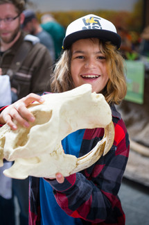A smiling boy holds a large animal skull up for the camera.
