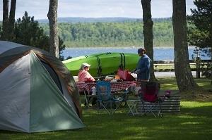 A campsite at Baraga State Park in the Upper Peninsula