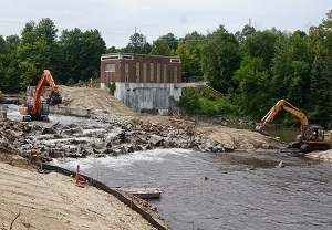 Removal of Sabin Dam on the Boardman River began in 2018 with DNR Dam Management Grant Program funding.