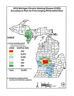 A map showing DNR deer head testing goals for 2018.