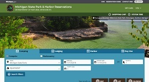 Front page screen shot of the DNR's updated campground and harbor reservations website