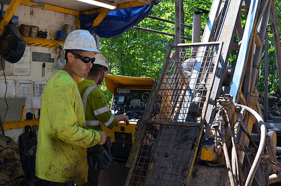 A crew conducts exploratory drilling on private property in the western Upper Peninsula.