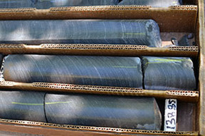 Core samples from exploratory copper drilling in the western Upper Peninsula are shown.