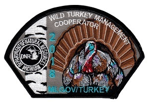 close-up view of 2018 Michigan wild turkey cooperator patch