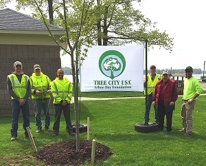 Tree-planting volunteers pose around a newly planted tree in Lake Odessa, Michigan