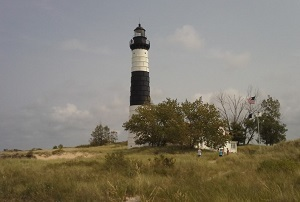 A view of the lighthouse at Ludington State Park