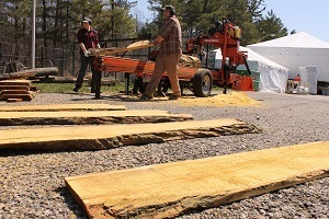 two men carry lumber in a work yard, with lumber planks laying in foreground