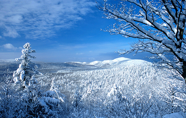 snowy view of Porcupine Mountains Wilderness State Park