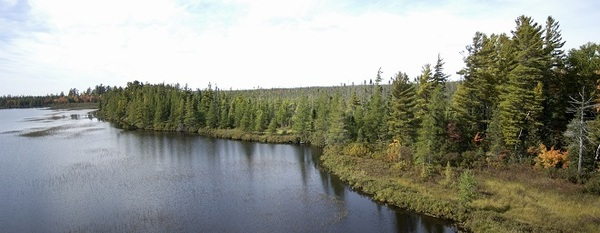 Aerial view of Lake Betsy in Tahquamenon Natural Area