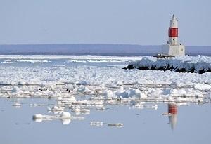 Frozen waters of Lake Superior in Marquette, Michigan