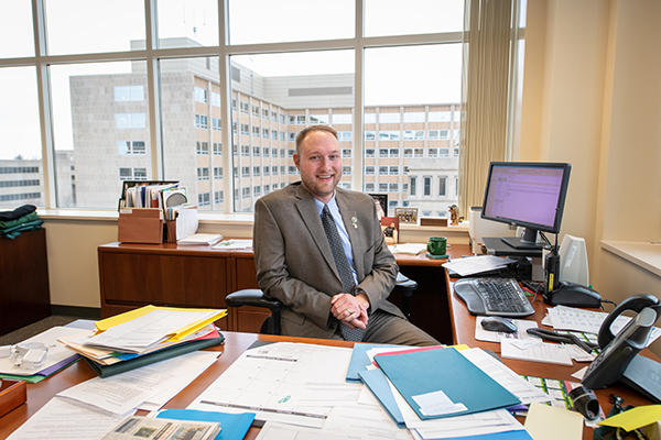 Dan Eichinger, the Michigan DNR's new director, is shown in his Lansing office in Constitution Hall.