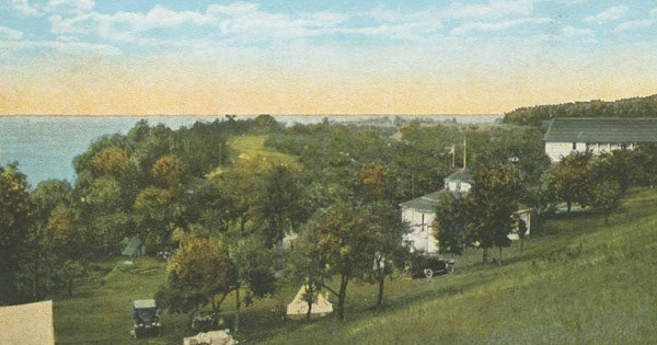 A vintage postcard view of Orchard Beach State Park, Manistee, from the Archives of Michigan collection