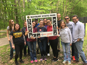 Maybury State Park visitors posing for a photo