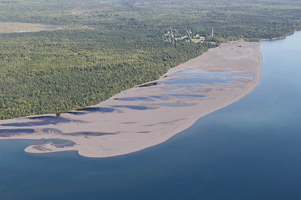 Stamp sands cover the coastline along the eastern edge of the Keweenaw Peninsula.