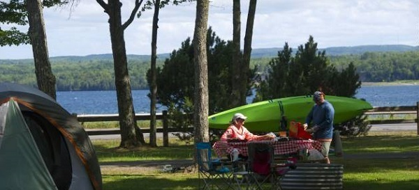campground view at Baraga State Park