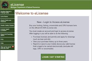 DNR's eLicense website screen shot