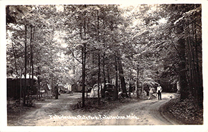 A historic photo shows campers at Interlochen State Park in Grand Traverse County.