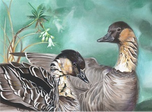 the 2018  winning entry in Michigan's Junior Duck Stamp Contest, depicting nene (Hawaiian) geese