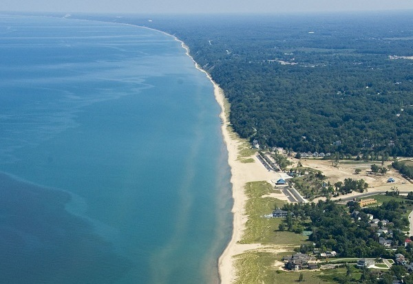 An aerial image of the St. Joseph shoreline, credit MDOT