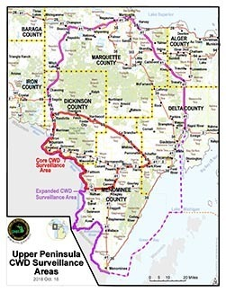 Map of Upper Peninsula chronic wasting disease surveillance areas.