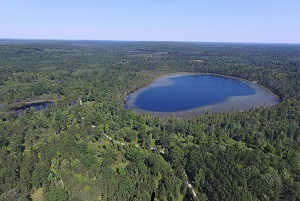 an aerial view of Walled Lake, part of a proposed Forest Legacy Program project in the Elk Forest at Black RIver