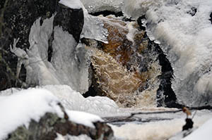 A waterfall along Nelligan Creek tumbles south from Craig Lake State Park in Baraga County.