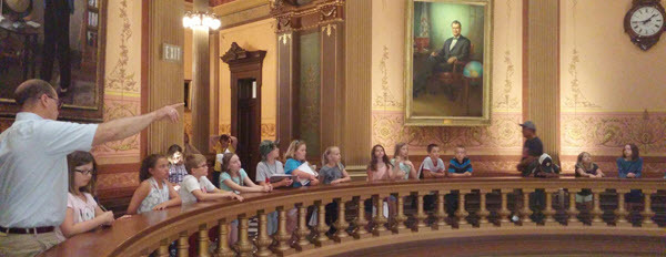 The Future Historians campers on a tour of the Capitol Building