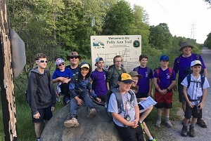 A Boy Scout troop takes a rest along a stretch of the Iron Belle Trail
