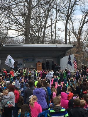 Children celebrate Arbor Day at Potter Park Zoo in Lansing.