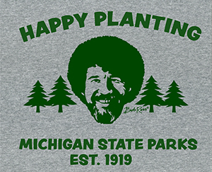 DNR Happy Little Trees t-shirt design, with Bob Ross