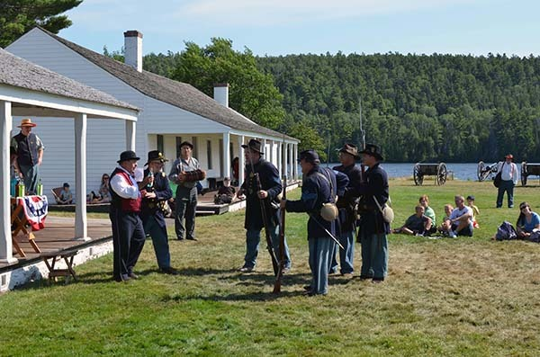 Historical reenactors help interpret the history of Fort Wilkins for visitors.