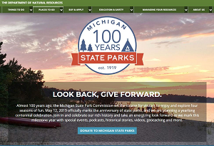Michigan state parks centennial website screen shot