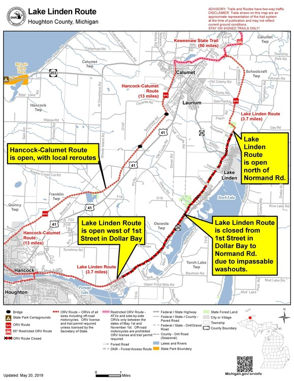 Map of Lake Linden Route ORV trail closure.