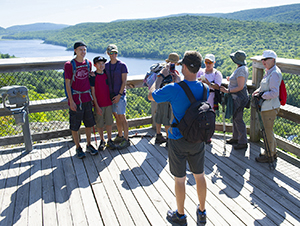 Visitors are shown at the overlook for Lake of the Clouds in Ontonagon County.