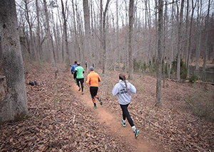 group of people running through the woods on a trail