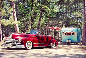 vintage camper parked at campground