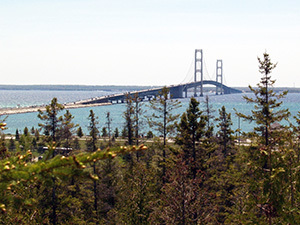 Great views of the Mackinac Bridge are available from the Father Marquette National Memorial site.