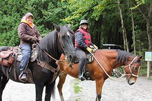 The author, Joni Gleason and Debbra Brown on their horses on Mackinac Island.