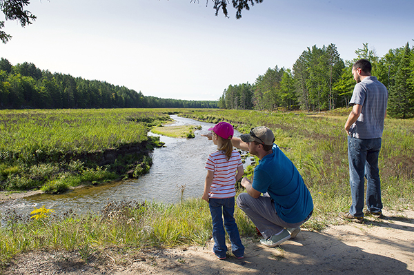Visitors to the Pigeon River Country enjoy a scenic vista.