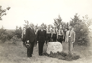 People gather at ceremony dedicating P.S. Lovejoy memorial in Pigeon River Country State Forest