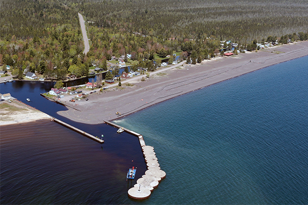 Dredging operations shown at the Grand Traverse Harbor.
