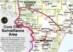UP Core CWD Surveillance Area Map