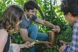 two young men and a young woman, kneeling down in the woods, opening a hidden geocache container