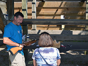 A visitor to the Pocket Park gets instruction at the pellet range.