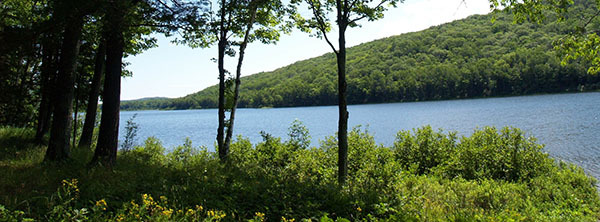 Lake of the Clouds viewed from the shoreline at Porcupine Mountains Wilderness State Park.