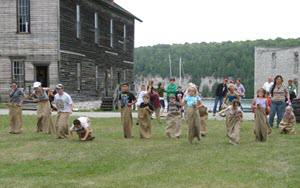 kids doing sack race at Fayette