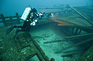 Great Lakes shipwrecks like that of the J. J. Audubon, a brig lost in a collision on Lake Huron in 1854.