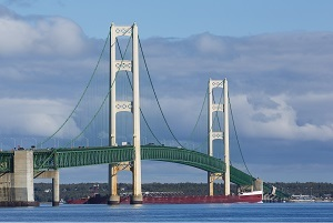 view of the Mackinac Bridge in the Straits of Mackinac