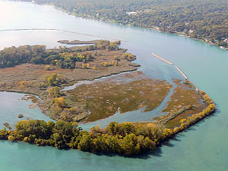The shoals protect the backwater wetlands on Stony Island.