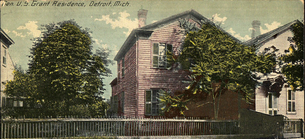 A colorized postcard from 1910 shows a two story home that has been tinted pink.